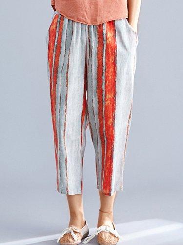 Plus Size Women Striped Casual Pants