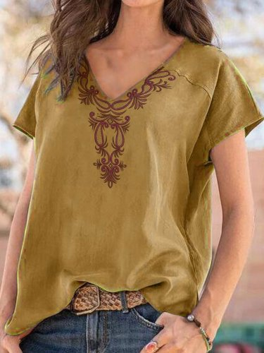 Printed Cotton-Blend Casual Short Sleeve Shirts & Tops