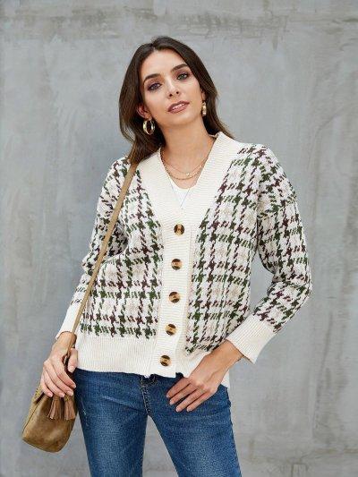 Khaki Vintage Shift Cotton Houndstooth Cardigan