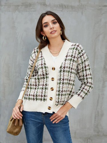 Khaki Vintage Shift Cotton Houndstooth Cardigan