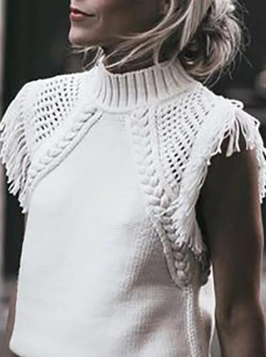 Women's Sweet Pure Color Hollow Out Splicing Tassel Knit Top