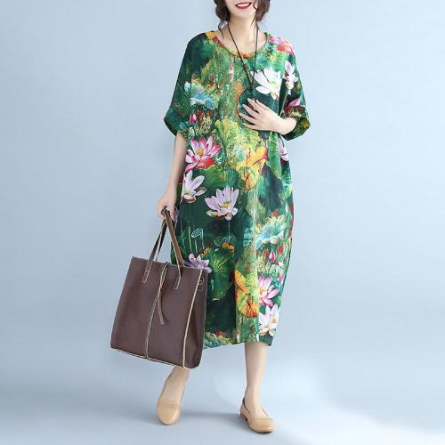 New Cotton Linen Summer Dress Floral Print Plus Size Ladies Beach Casual Dress
