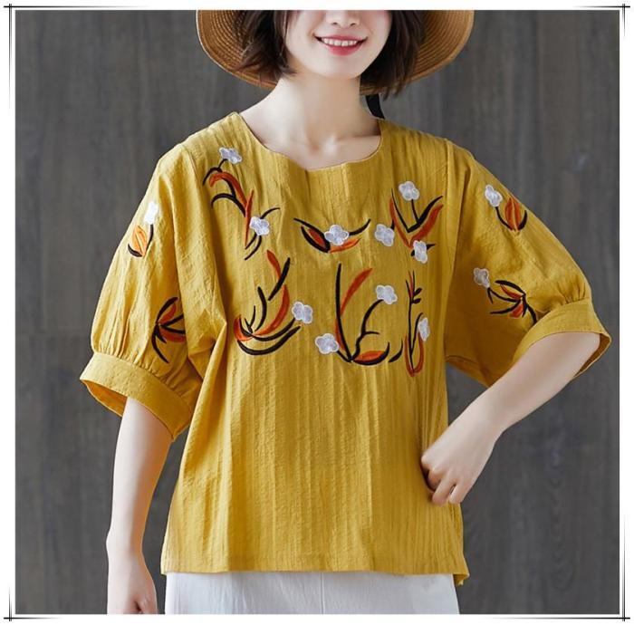 Women's Embroidery Floral Short Puff Sleeve Linen Cotton Loose Casual Summer Top T-Shirt