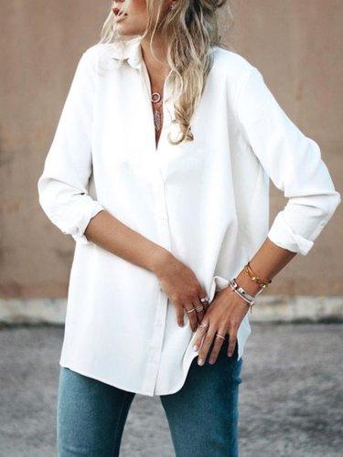 Paneled Blouses Long Sleeve Shirt Collar Casual Shirts
