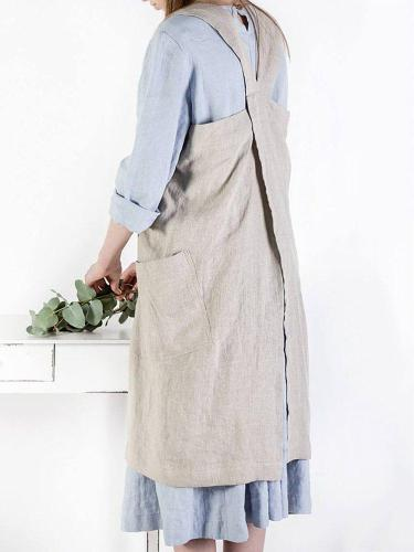 Casual Shift Solid Pockets Plus Size Sleeveless Dress