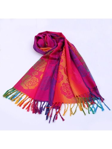 Red Vintage Cotton-Blend Scarves & Shawls