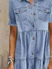 Blue Casual Short Sleeve Dresses