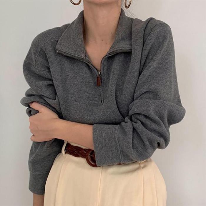 Women's Lapel Zip Knit Shirt