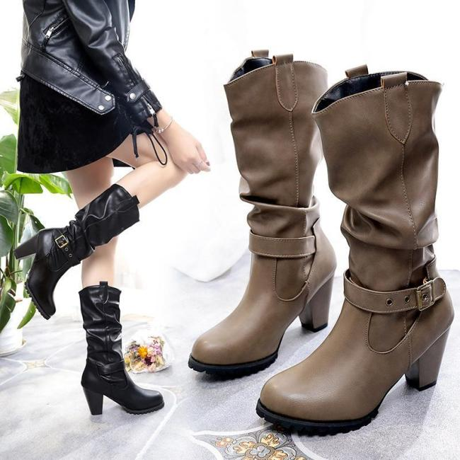 Winter Chunky Heel Buckle Mid-calf Boots