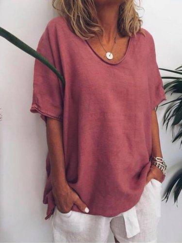 Women Thin Summer Linen Plus Size Short Sleeve Casual Tops
