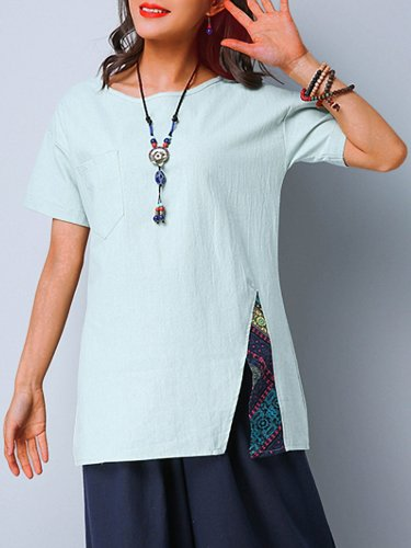 Plus Size Cotton And Linen Women  Short  Sleeve Solid  Casual Top