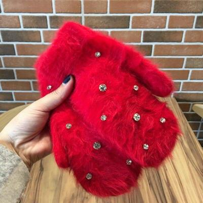 Fashion Women Girl Winter Gloves Rabbit Fur Mittens Soft Warm Candy Color Double Layer Female Gloves Gifts
