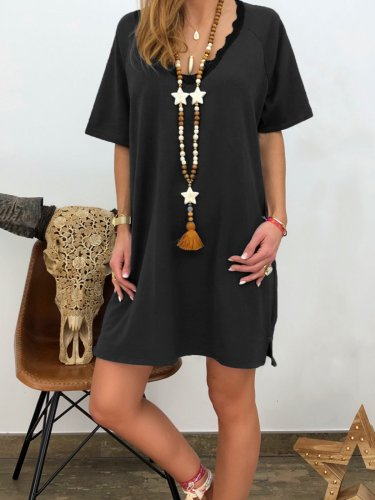 Women Dresses V Neck Shift Daily Vintage Cotton-Blend Dresses