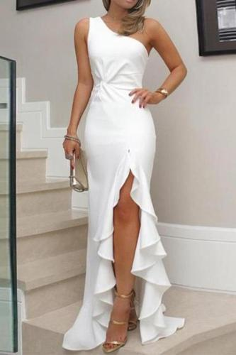 Early Autumn Oblique Collar Ruffles Sleeveless Elegant Bodycon Dress