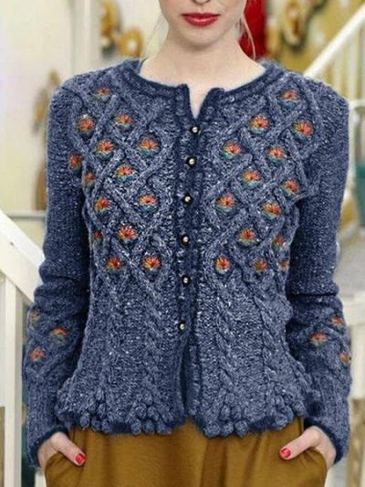 Jacquard Buttoned Vintage Women's Cardigan