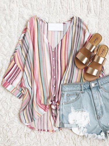 Multicolor Striped Cotton V Neck Short Sleeve Casual Tops