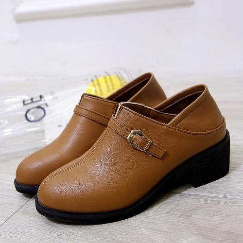 Brown PU Chunky Heel Buckle Daily Boots