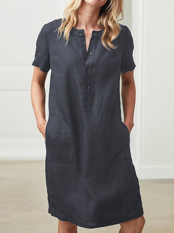 Women Dresses Shift Daytime Pockets Mini Dress