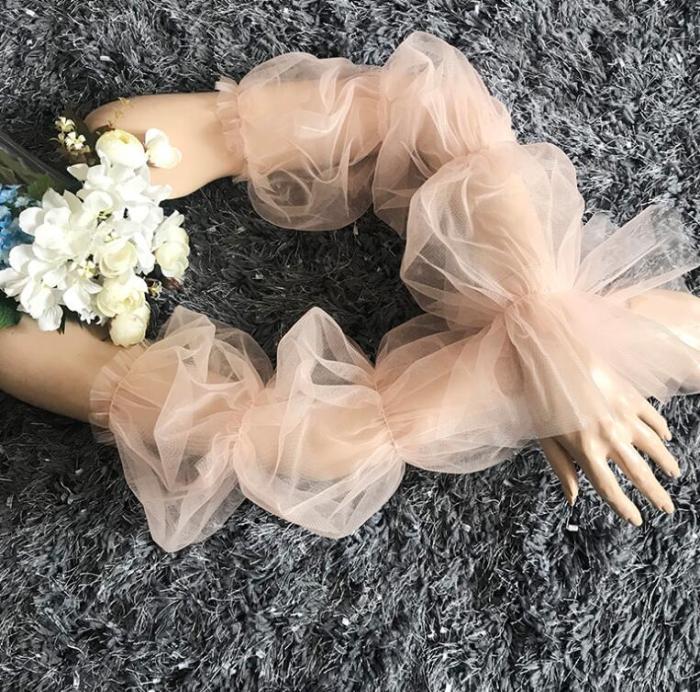 Women's elegant white color mesh glove female spring summer sunscreen long lace glove R1558
