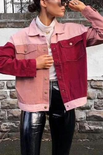 Fashion Round Collar Splice Pocket Button Long-Sleeved Jacket