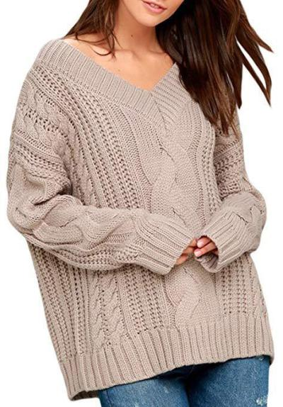 Sweater women's V-neck twist casual sweater long sleeve pullover loose sweater coat sweaters  pullover  knit sweater women