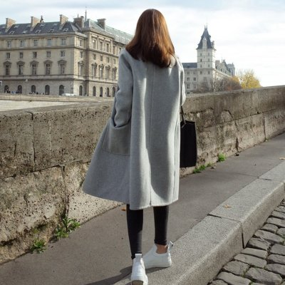 Fashion Plain Straight Cashmere Coat Outerwear