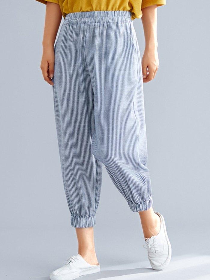 Women Plaid Casual Pants