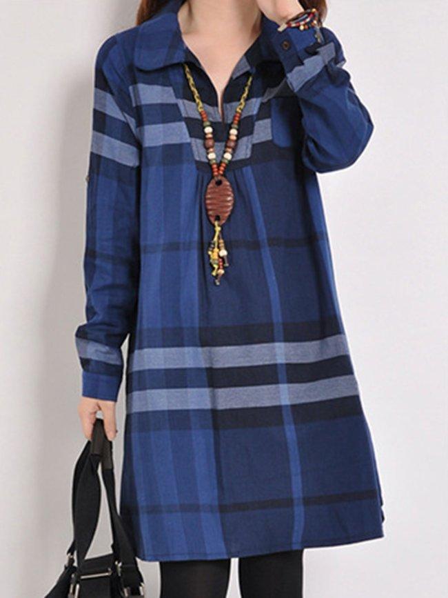Color Block Long Sleeve Peter Pan Collar Casual Dress