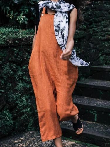 Orange Sleeveless Linen One-Pieces