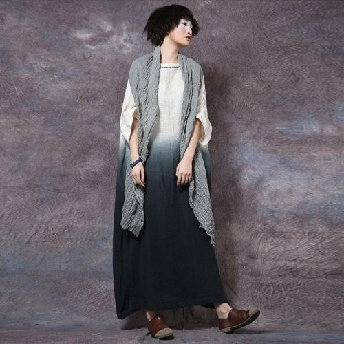 Summer Vintage Gradient Ramie Embroidered Cotton and Linen Plus Size Long Maxi Dress