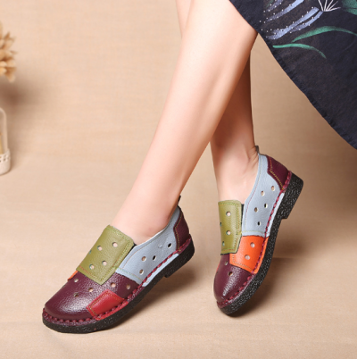 Colorful Genuine Leather Color Block Low Heel Daily Spring/Fall Loafers