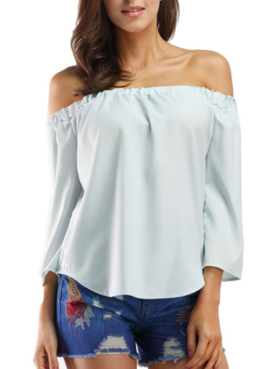 Off Shoulder Sexy Solid Shirts & Tops