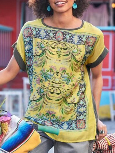 Short Sleeve Cotton-Blend Boho Round Neck Shirts & Tops