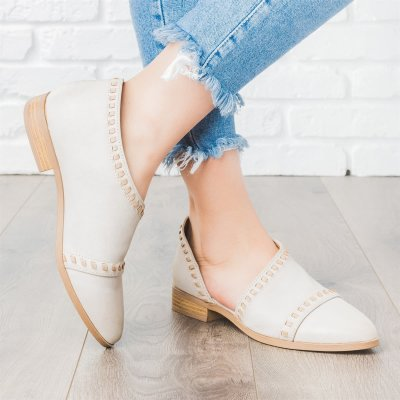 Trendy Stitched Style Side Cutout Loafers Casual PU Low Heel Loafers