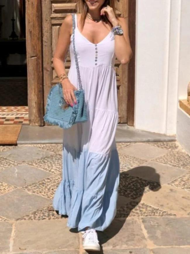 White Beach Holiday Daily Sexy Ombre/Tie-Dye Sleeveless Spaghetti A-line Swing Cotton Dresses