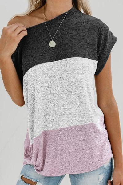 Color-block Casual Cotton T-shirts