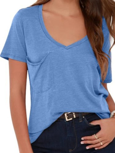 Casual V Neck Pockets Cotton-Blend Shirts & Tops