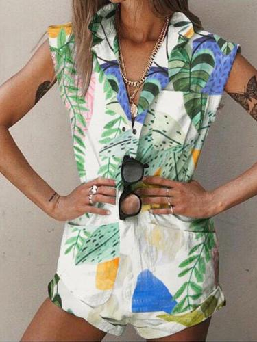 Green Plant Printed Pockets Shift Shawl Collar Sleeveless One-Pieces