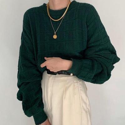 Casual Daily Dark Green Long Puff Sleeves Round Neck Sweater