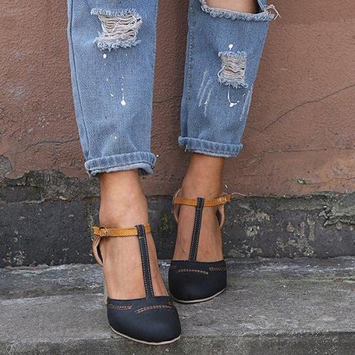 Summer Adjustable Buckle Chunky Heel Shoes