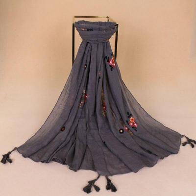 2020 Fashion Embroidered Floral Tassel Viscose Scarf New Spring Printed Long Soft Aztec Scarves Wrap