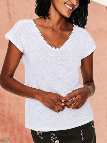 Short Sleeve Plain Casual V Neck Shirts & Tops