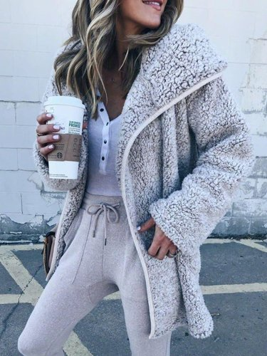 Women Hooded Sherpa Coat Shawl Collar Solid Teddy Bear Coats