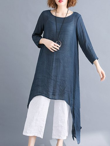 Solid 3/4 Sleeve Maxi Dress