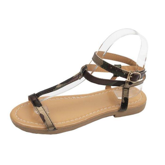 Women Summer Fashion Sandals Buckle Strap Flat Leopard Retro Peep Toe Sandals
