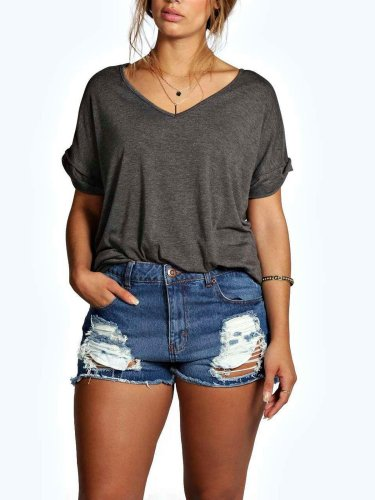 Gray V Neck Short Sleeve Shirts & Tops