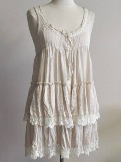 Beige lace cotton and linen dress