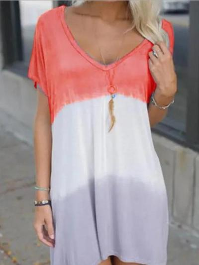 Short Sleeve Simple V Neck Dresses