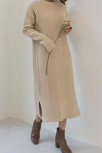Casual Simple   Fashionable Shown Thin Thickening Sweater Knitted Maxi Dress