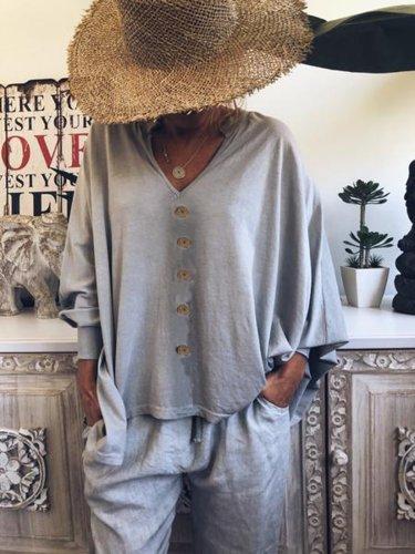 Long Sleeve Cotton-Blend Plain V Neck Shirts & Tops